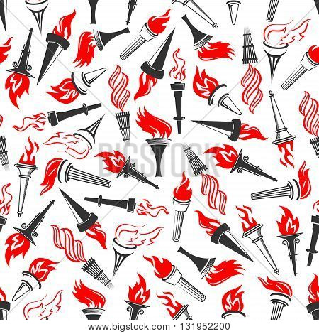 Seamless pattern of ancient greek burning torches with bright red flame swirls, randomly scattered on white background. Sporting competition, achievement or religion themes design