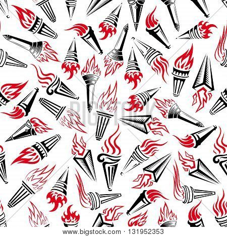 Seamless modern hand held torches pattern over white background with bright red flames and heavy handles adorned with swirling and geometric ornaments. Victory and peace theme or sporting competition concept design