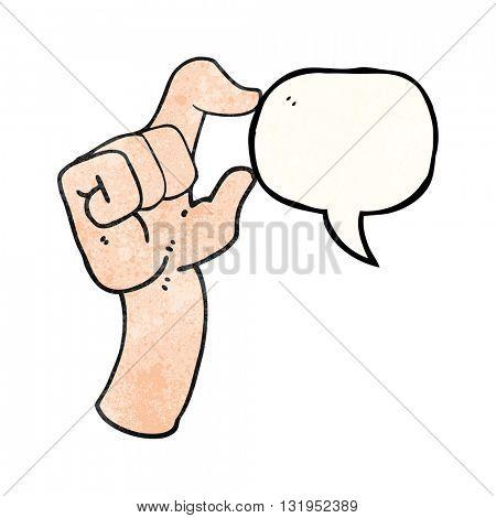 freehand speech bubble textured cartoon hand making smallness gesture