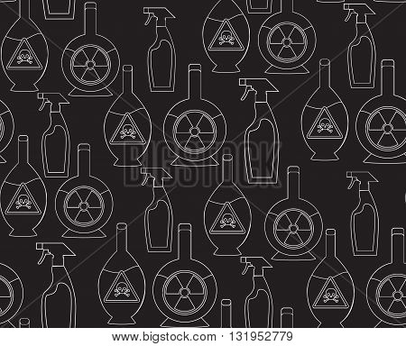 Seamless pattern with outline toxic chemicals in the bottles for your design