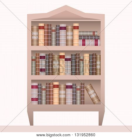 Vector illustration of realistic bookshelf with book. Vector element for your creativity