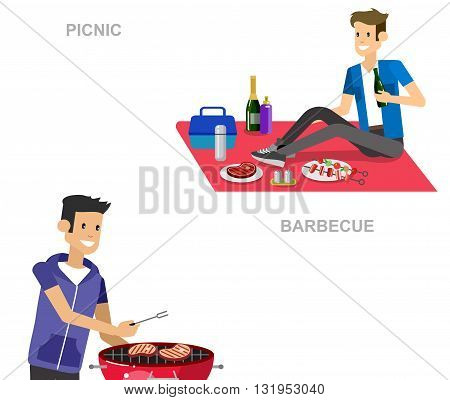 Vector character man on picnic or Bbq party. Food and barbeque, summer and grill. Vector barbeque party, illustration barbeque party. Banner set