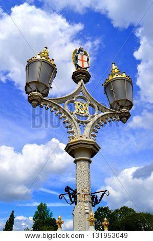 Street lights on Lendal Bridge in York City centre UK