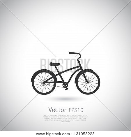 Bicycle icon or logo on gray background. Vector illustration with place for your text.