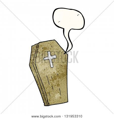 freehand speech bubble textured cartoon spooky coffin