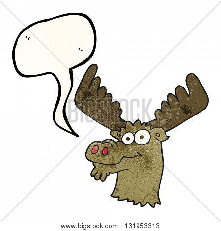 freehand speech bubble textured cartoon moose