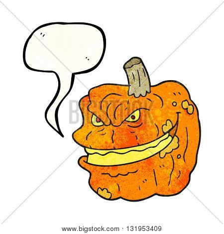 freehand speech bubble textured cartoon spooky pumpkin