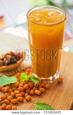 fruit drink with sea buckthorn