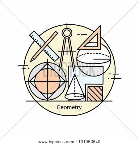 Modern color thin line concept of geometry for school, university and training. Vector illustration with different elements on the subject of geometry.