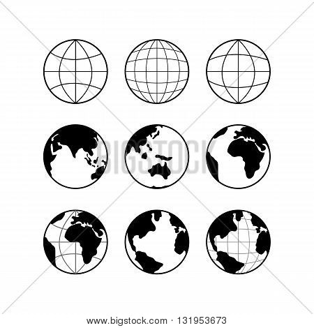 Globe Earth vector black icons set, vector globe signs isolated on white. Travel and science concept.