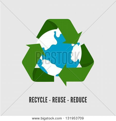 Recycling Earth concept. Flat illustration of recycle arrows with Earth globe isolated on white. Recycling symbol flat.