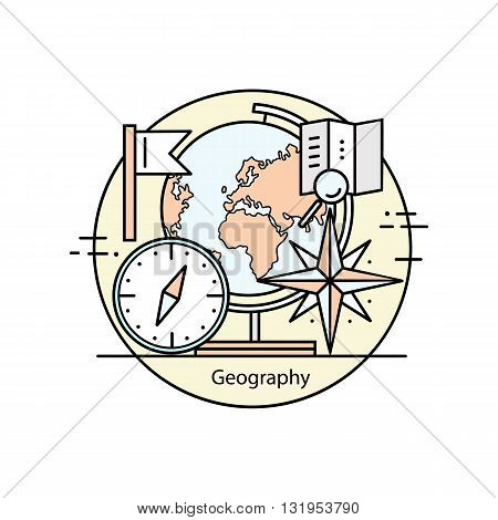 Modern color thin line concept of geography for school, university and training.Vector illustration with different elements on the topic of geography. Logo Concepts for Trendy Designs.