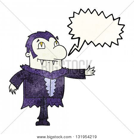 freehand speech bubble textured cartoon vampire