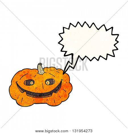 freehand speech bubble textured cartoon pumpkin