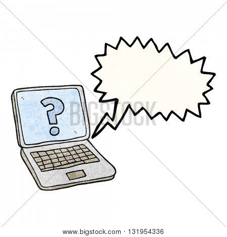 freehand speech bubble textured cartoon laptop computer with question mark