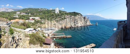 background panoramic view of the rock sail near the Swallow's Nest, Gaspra, Yalta