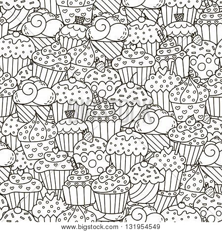 Black and white cupcakes seamless pattern. Hand drawn muffins background. Great for coloring book, wrapping, printing, fabric and textile. Vector illustration