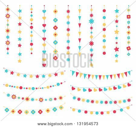 Vector set of festive buntings, flags and garlands. Cute colorful birthday garlands with flags, stars, flowers, hearts