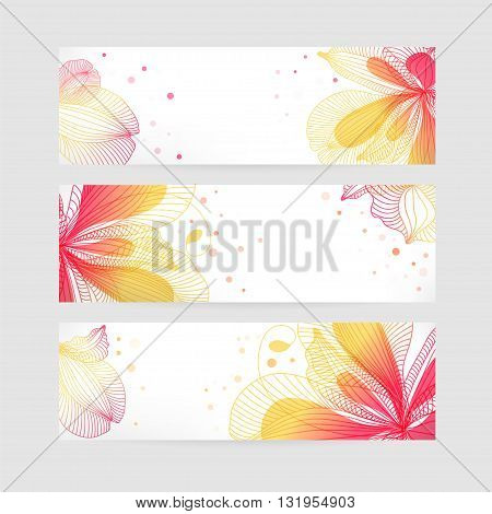 Set of floral banners, flower design, bright background