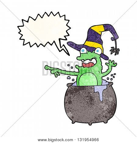 freehand speech bubble textured cartoon halloween toad