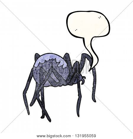 freehand speech bubble textured cartoon creepy spider
