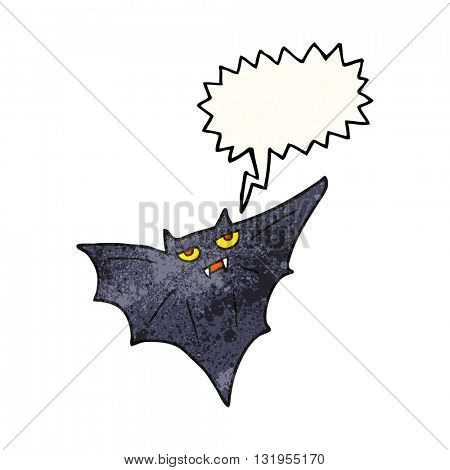 freehand speech bubble textured cartoon halloween bat