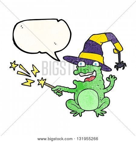 freehand speech bubble textured cartoon toad casting spell