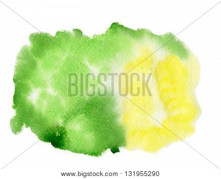 Watercolor green-yellow spot or blotch.Watercolor  background
