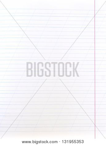 Blank lined notebook sheet (with diagonal lines and red margin)