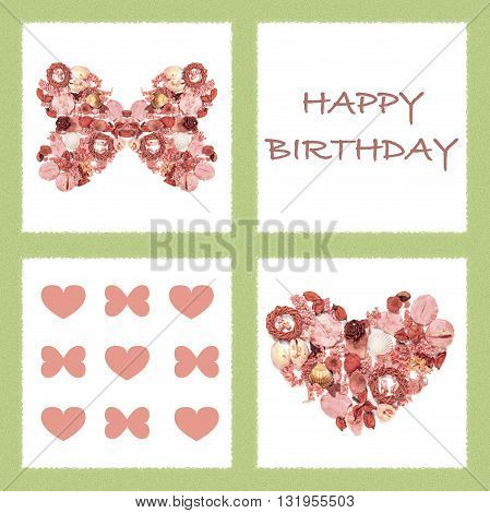 Greeting Card With  Dried Flowers In Form Of Butterfly And Heart.