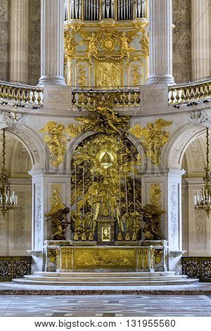 VERSAILLES, FRANCE - MAY 12, 2013: This is the altar in the Chapel of St. Louis in the Palace of Versailles.