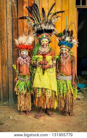 Timid Children In Papua New Guinea