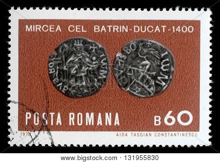 ZAGREB, CROATIA - JULY 18: stamp printed by Romania, shows Emperor Trajans copper sestertius, circa 1970, on July 18, 2012, Zagreb, Croatia
