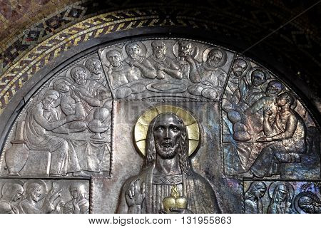 ZAGREB, CROATIA - JANUARY 31: Last supper, altar of the Sacred Heart of Jesus in the church of Saint Blaise in Zagreb, Croatia on January 31, 2015
