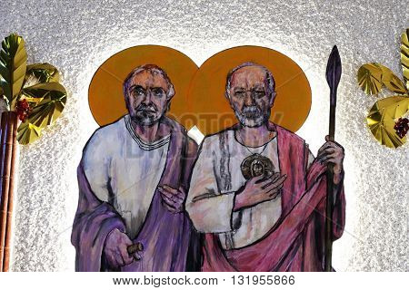 ZAGREB, CROATIA - JANUARY 31: St. Simon and St. Judas Thaddaeus on tha altar of the church of Saint Blaise in Zagreb, Croatia on January 31, 2015