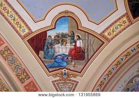 STITAR, CROATIA - AUGUST 27: The supper of Jesus by Simon the Pharisee, fresco in the church of Saint Matthew in Stitar, Croatia on August 27, 2015