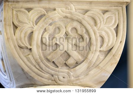 ZAGREB, CROATIA - JANUARY 31: Carved stone column ornament in the church of Saint Blaise in Zagreb, Croatia on January 31, 2015