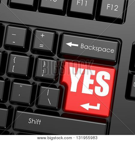 Red enter button on computer keyboard yes word. Business concept, 3D rendering