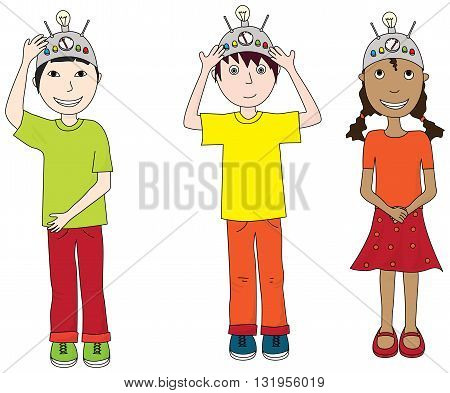 Cartoon illustration of three kids wearing thinking caps