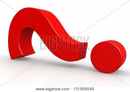Red Question Mark On Isolate White Background