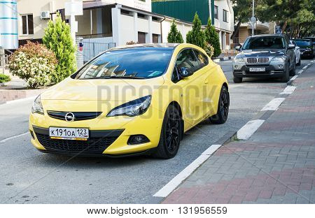 SOCHI, RUSSIA - APRIL 29 2016: Opel Astra parked in the streets of Sochi.