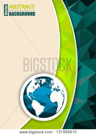 Abstract green brochure with polygons and world map