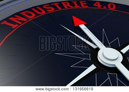 Black compass with INDUSTRIE 4.0 word on it 3D rendering