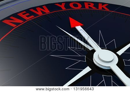 Black compass with New York word on it 3D rendering