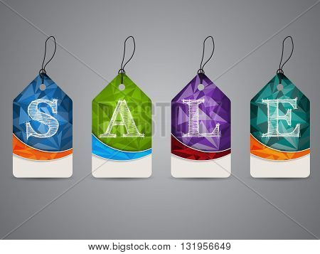 Polygon design shopping labels with sale text