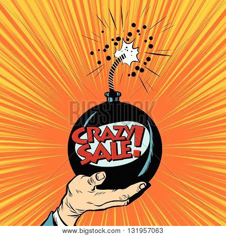 News bomb crazy sale pop art retro vector. Business concept of sale and purchase. Shopping
