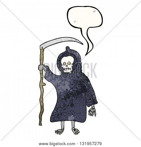 freehand speech bubble textured cartoon spooky death figure