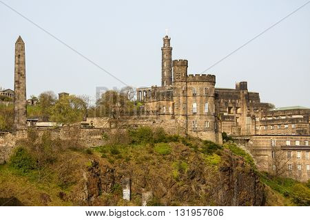 Calton Hill in Edinburgh with  all of its monuments