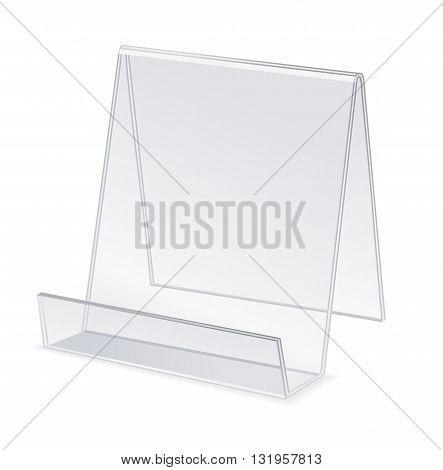 Transparent plastic holder for cards or menu paper isolated on white. Vector illustration
