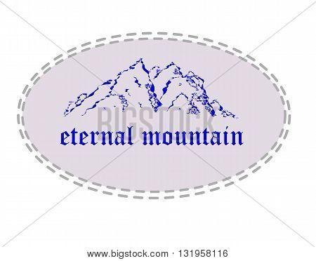 Blue mountain silhouette in ellipse  - vector illustration.